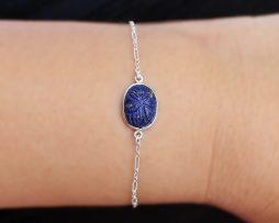Carved Lapis Lazuli Silver Bracelet