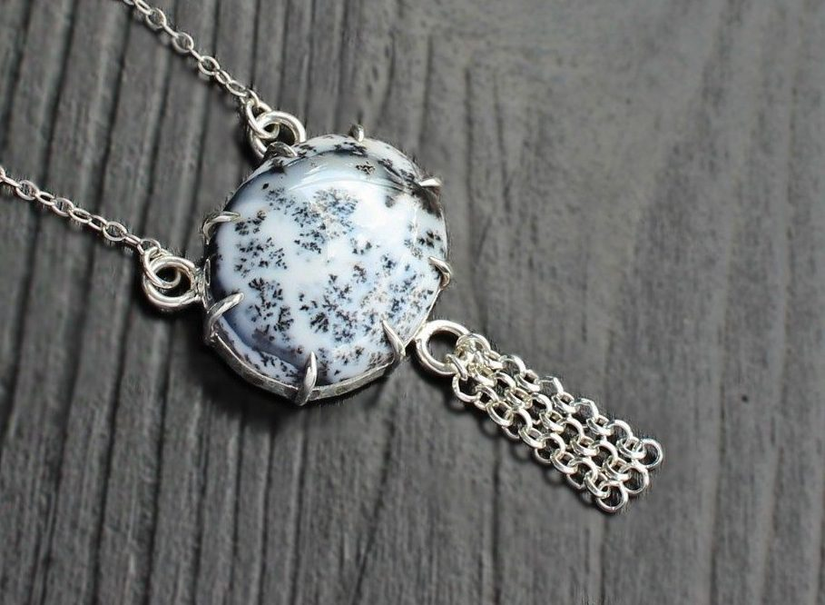 Dendritic agate silver necklace saruchi r jewellery dendritic agate silver necklace aloadofball Choice Image