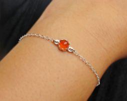 Carnelian Silver Bezel Bracelet