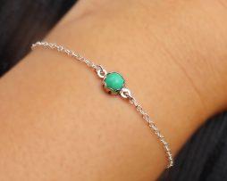 Chrysoprase Silver Bezel Bracelet