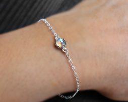 Tiny Labradorite Silver Bracelet