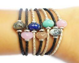925 Pearl Leather Bracelet-Lapis Lazuli