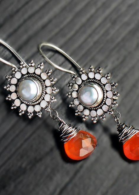 Carnelian Pearl Silver Jhumkas