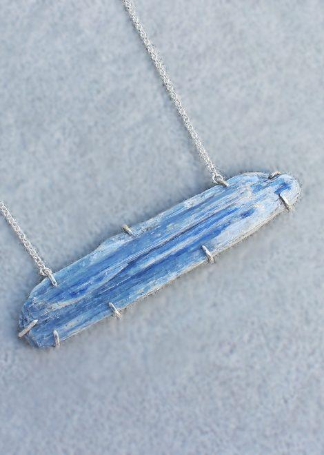 Raw Kyanite Prong Set Necklace