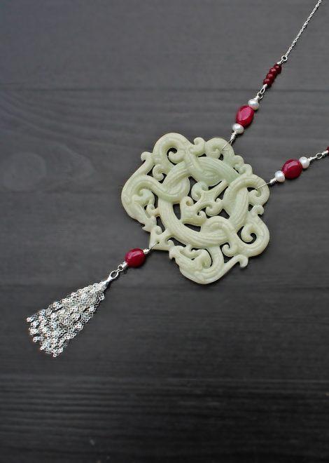 White Jade Amulet Necklace