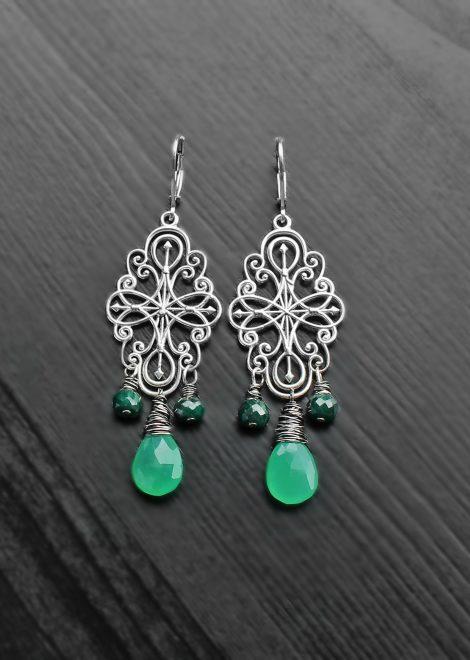 Chrysoprase Emerald Silver Filigree Earrings