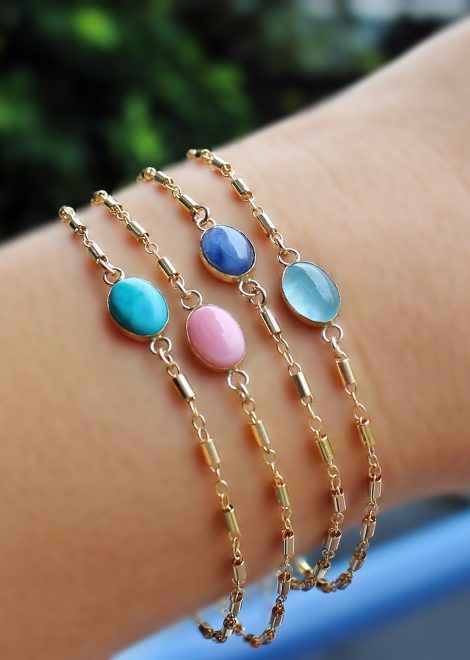 Aquamarine Gold Filled Bracelet