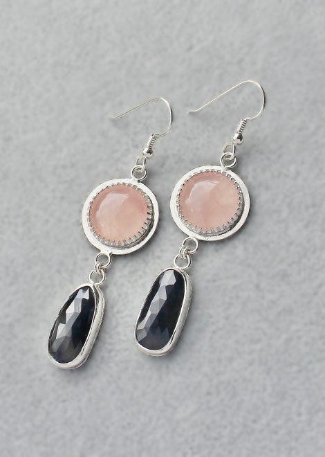 Rose Quartz Sapphire Silver Earrings