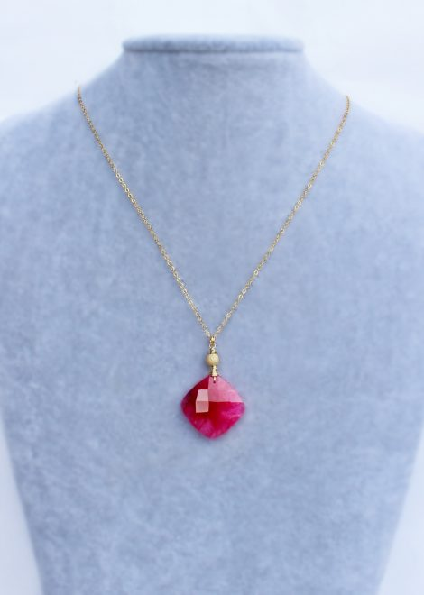 Square Ruby Gold Filled Necklace