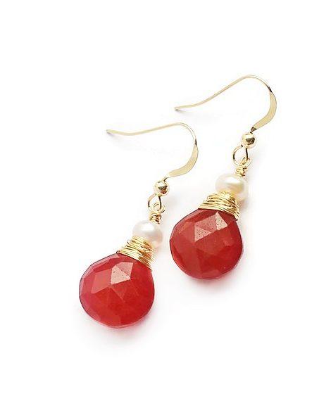 Ruby White Pearl 14K Gold Filled Earrings