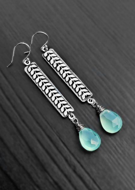 Blue Chalcedony Floral Bar Earrings