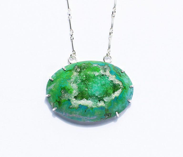 Green Druzy Geode Necklace