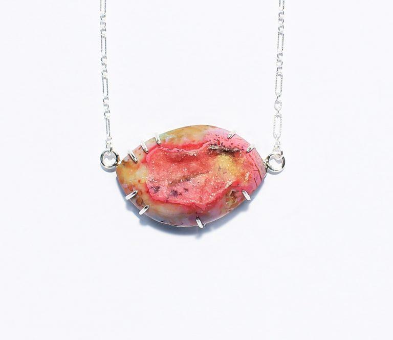 Multicolor Marquise Druzy Silver Necklace