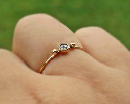14K Rose Cut Salt Pepper Diamond Ring