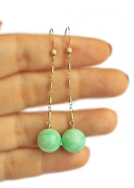 Jade Bead Gold Filled Earrings