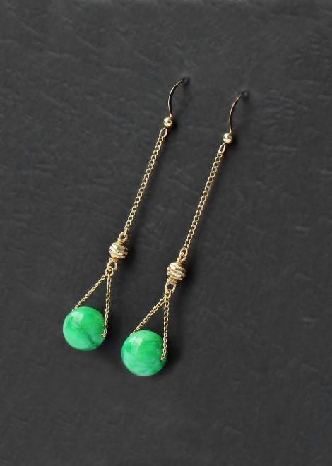 Jade 14 K Gold Filled Long Earrings