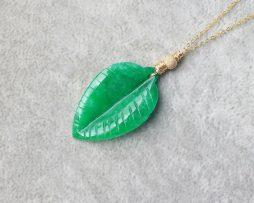 Jade Leaf Gold Necklace