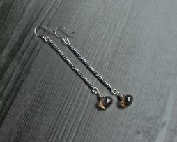 Smoky Quartz Long Bar Earrings