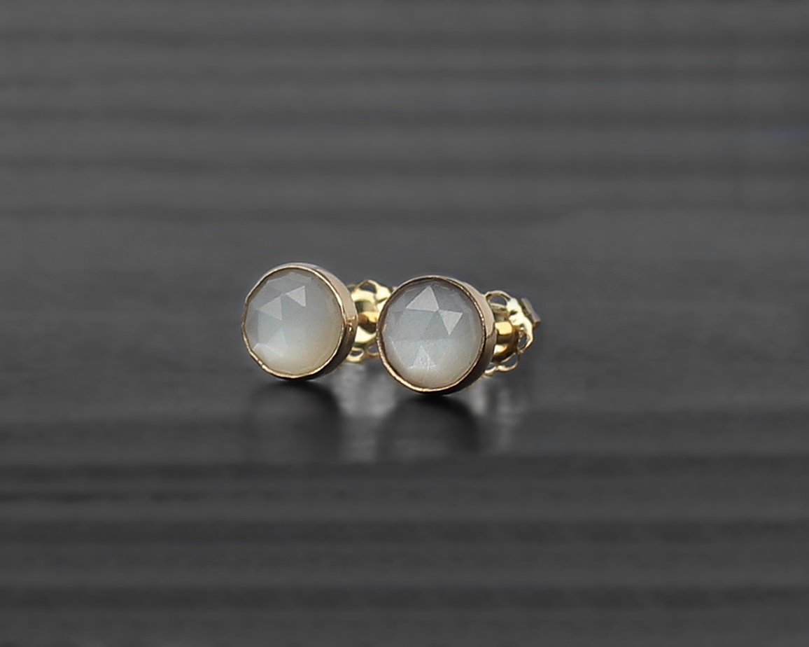 White Moonstone 14K Solid Gold Earrings